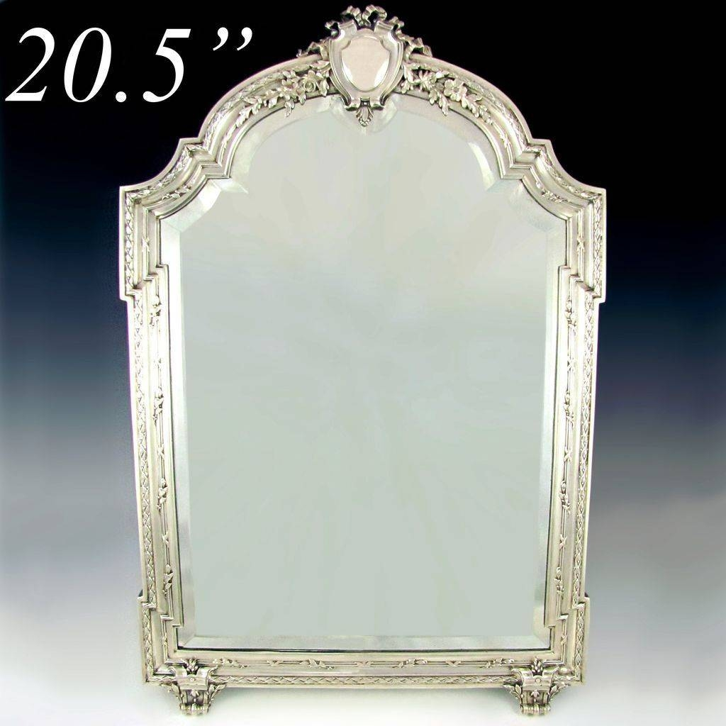 Large Antique 19C French Sterling Silver Beveled Glass Table Top regarding Large Antique Silver Mirrors (Image 4 of 15)