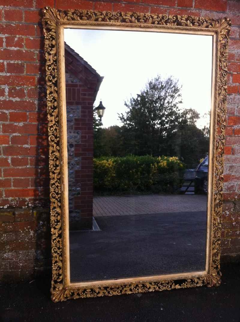 Large Antique French Carved Wood Decorative Mirror - Antique All with Large Antique Mirrors (Image 6 of 15)