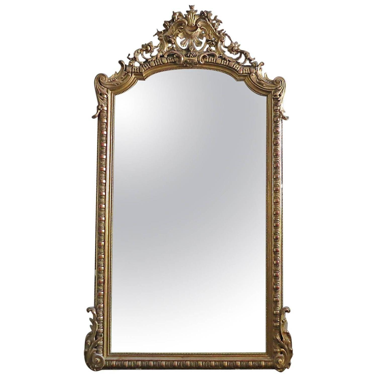 Large Antique French Gold Gilt Mirror At 1Stdibs pertaining to Large Mantel Mirrors (Image 10 of 15)
