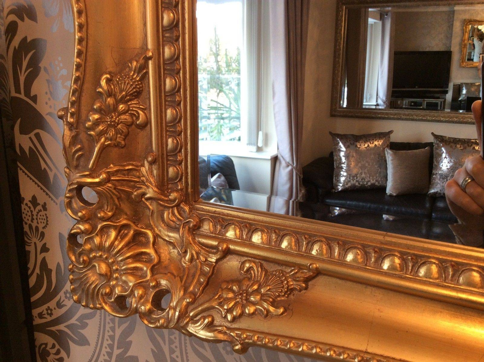 Large Antique Gold Shabby Chic Ornate Decorative Wall Mirror Free Pertaining To Large Gold Ornate Mirrors (View 7 of 15)