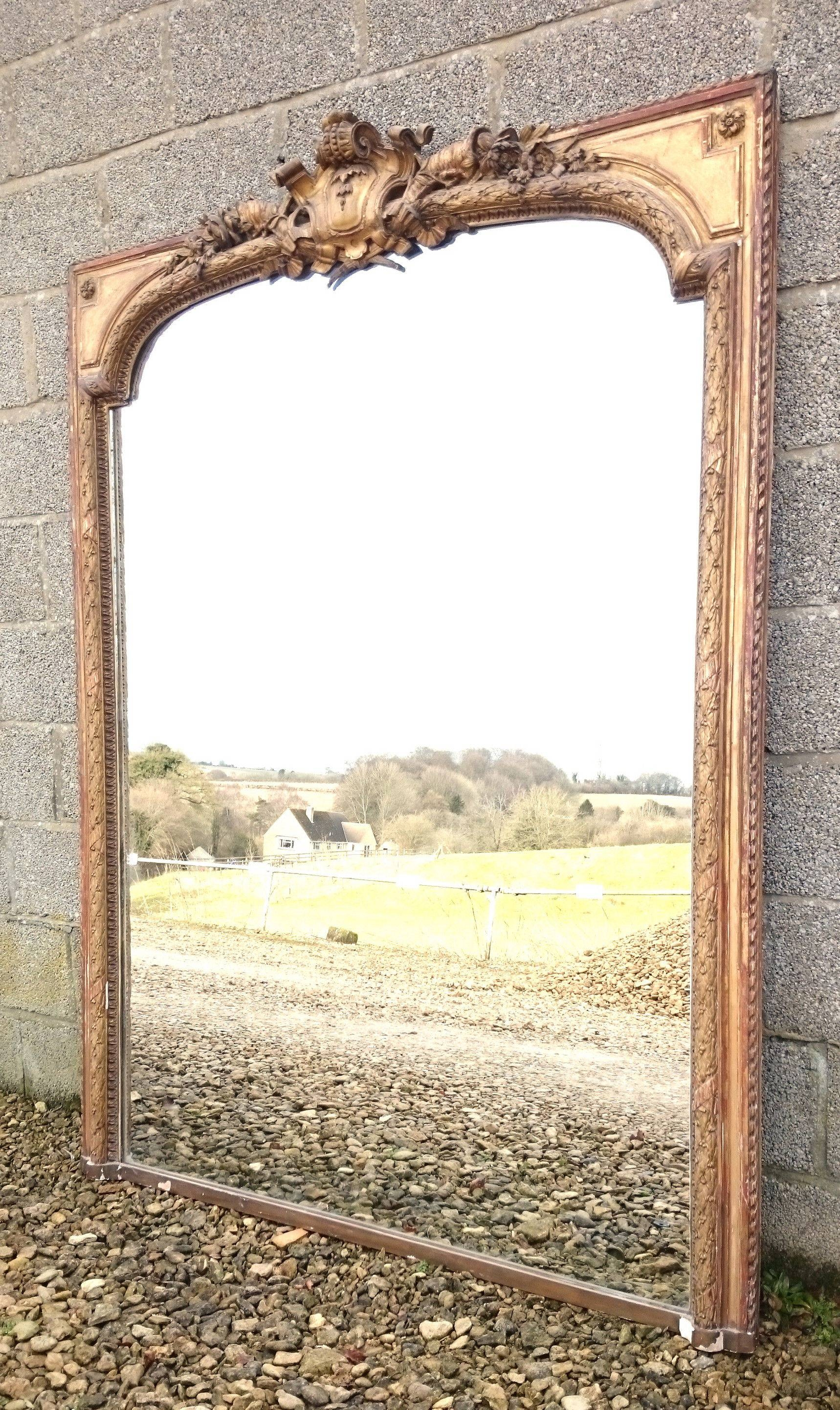 Large Antique Overmantle Mirror (C. 1850 United Kingdom) From regarding Antique Overmantle Mirrors (Image 10 of 15)