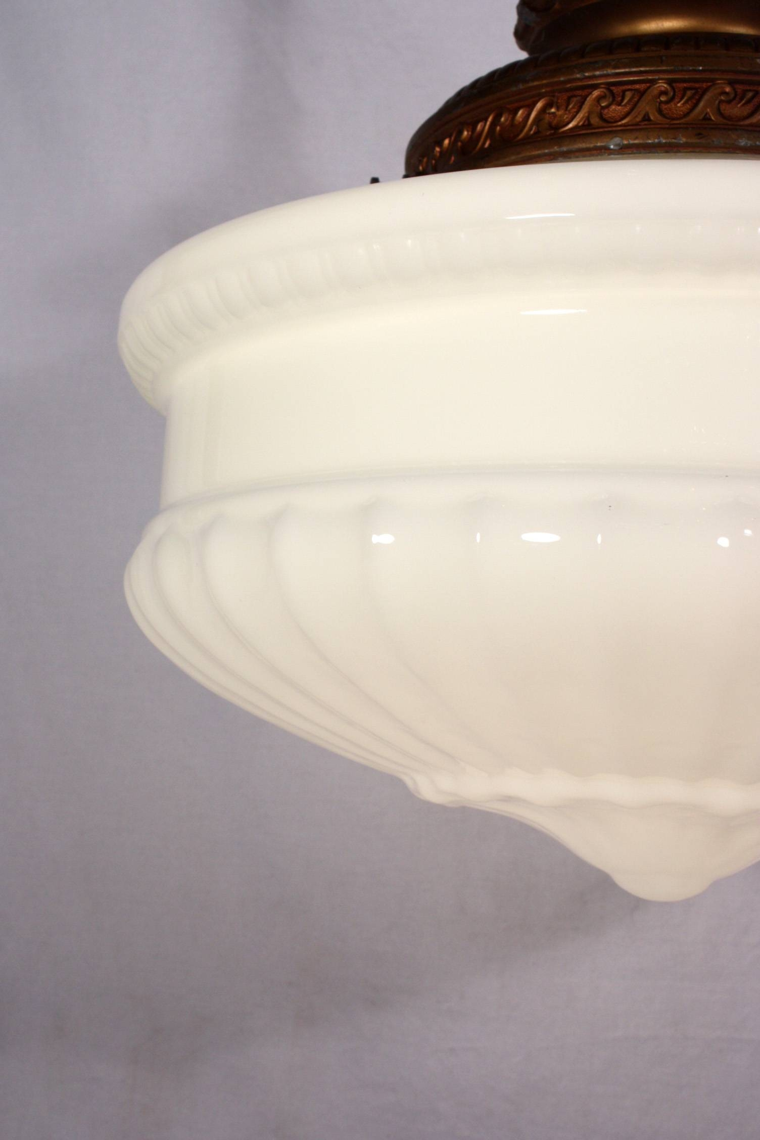 Large Antique Pendant Light Fixture With Original Milk Glass Shade pertaining to Milk Glass Lights Fixtures (Image 7 of 15)