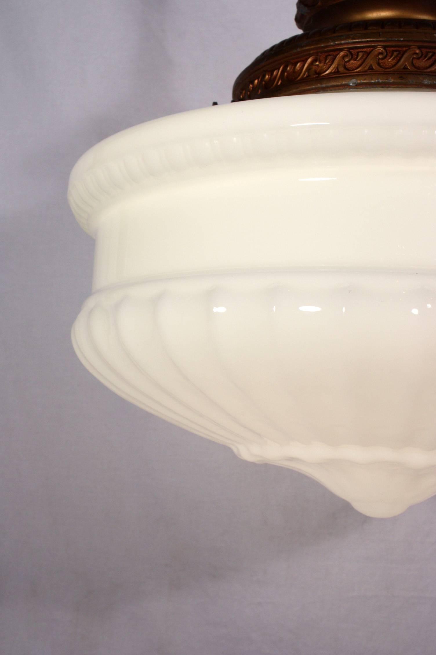 Large Antique Pendant Light Fixture With Original Milk Glass Shade regarding Milk Glass Pendant Light Fixtures (Image 5 of 15)