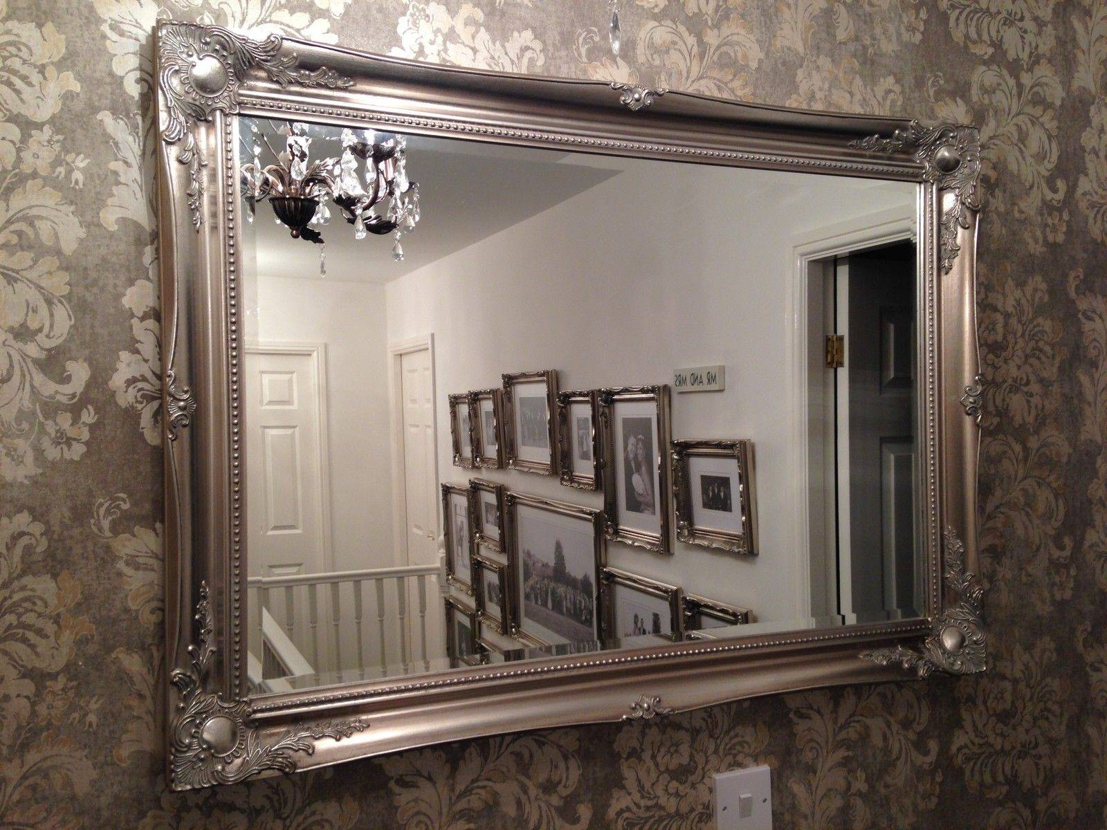 Large Antique Silver Shabby Chic Ornate Decorative Over Mantle throughout Large Overmantle Mirrors (Image 9 of 15)