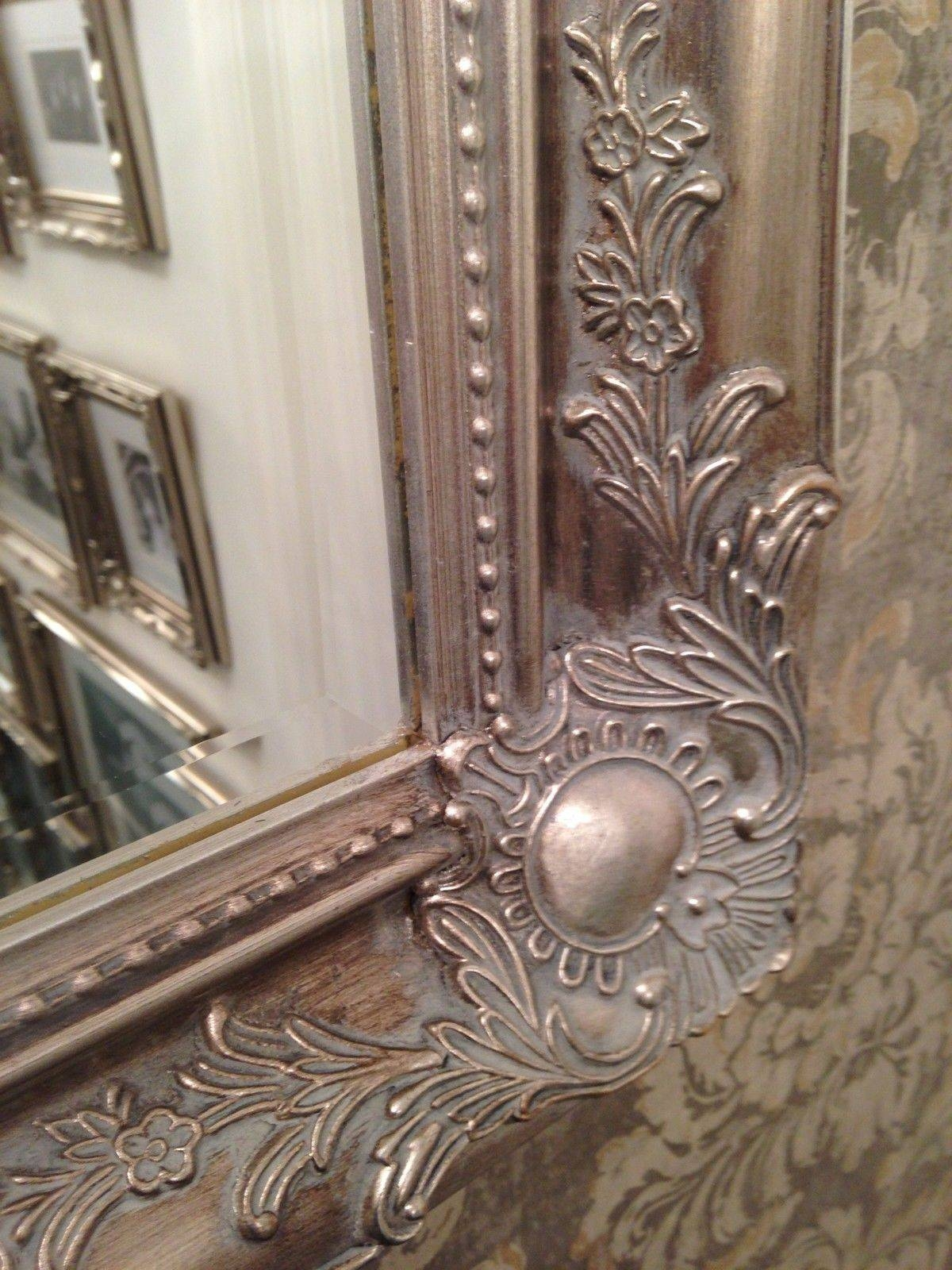 Large Antique Silver Shabby Chic Ornate Decorative Wall Mirror for Shabby Chic Wall Mirrors (Image 5 of 15)