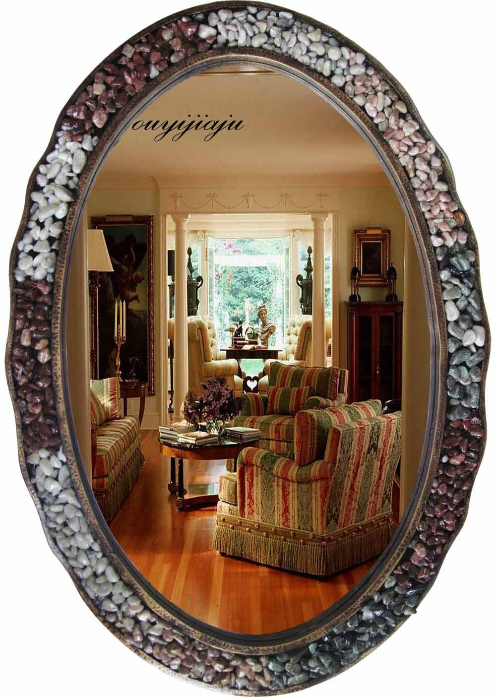 Large Big Decorative Cosmetic Antique Oval Wall Mirror With Frame within Large Oval Wall Mirrors (Image 9 of 15)