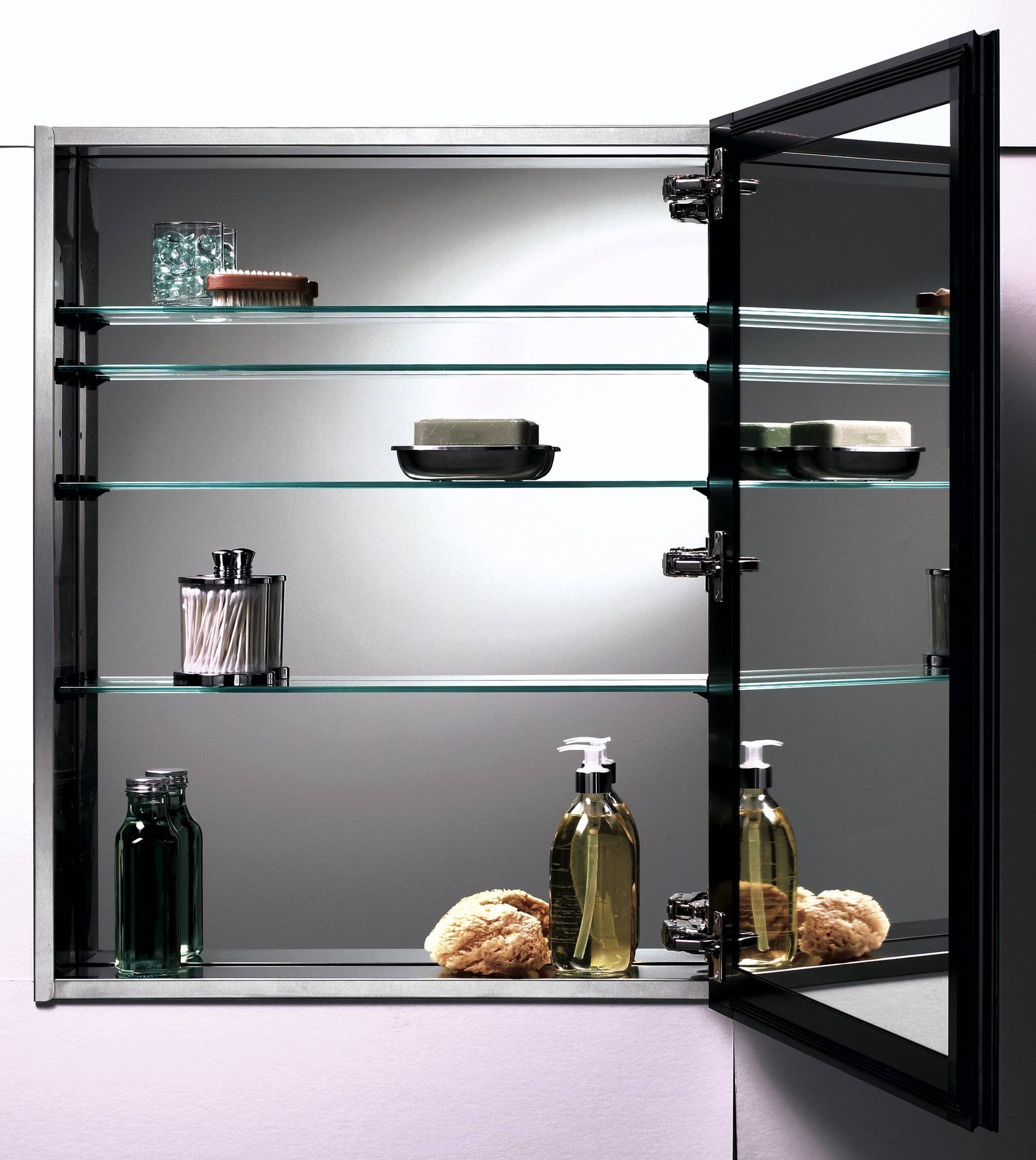 Large Black Glossy Wooden Medicine Cabinets With Glass Shelving For Black Cabinet Mirrors (Photo 3 of 15)