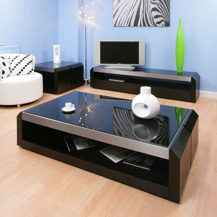 Large Black Oak / Glass Coffee / Lamp / Side Table Modern Designer with Modern Black Glass Coffee Table (Image 8 of 15)