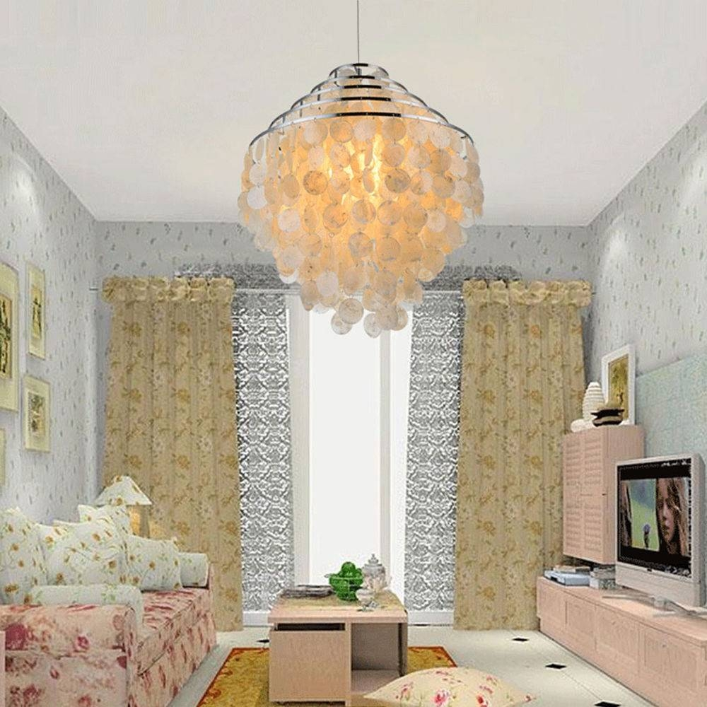 Large Capiz Shell White Ceiling Light Shade Lampshade Pendant intended for Shell Light Shades Pendants (Image 6 of 15)