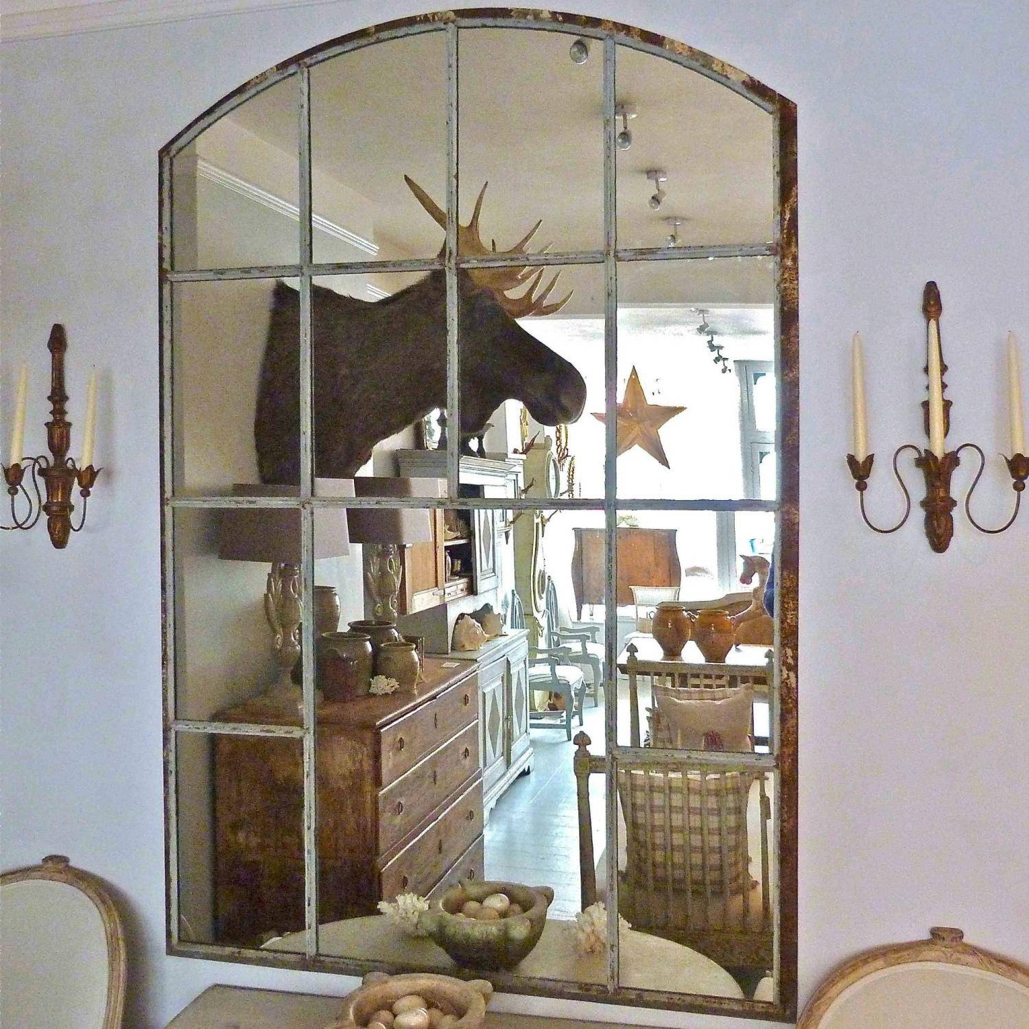 Large Cast Iron Slow Arched Window Frame Mirror In Mirrors within Large Arched Window Mirrors (Image 10 of 15)