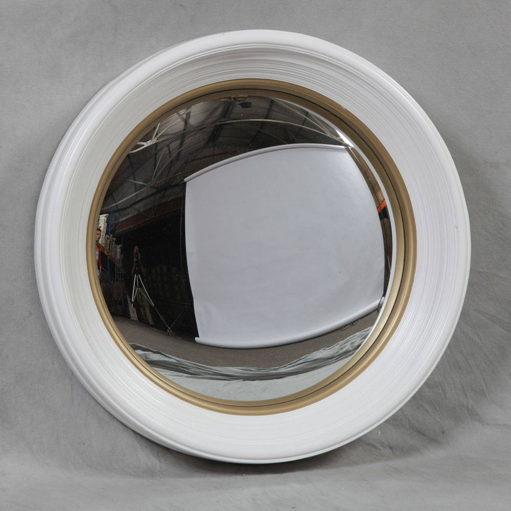 Large Deep White Framed Convex Mirror within Convex Mirrors (Image 8 of 15)