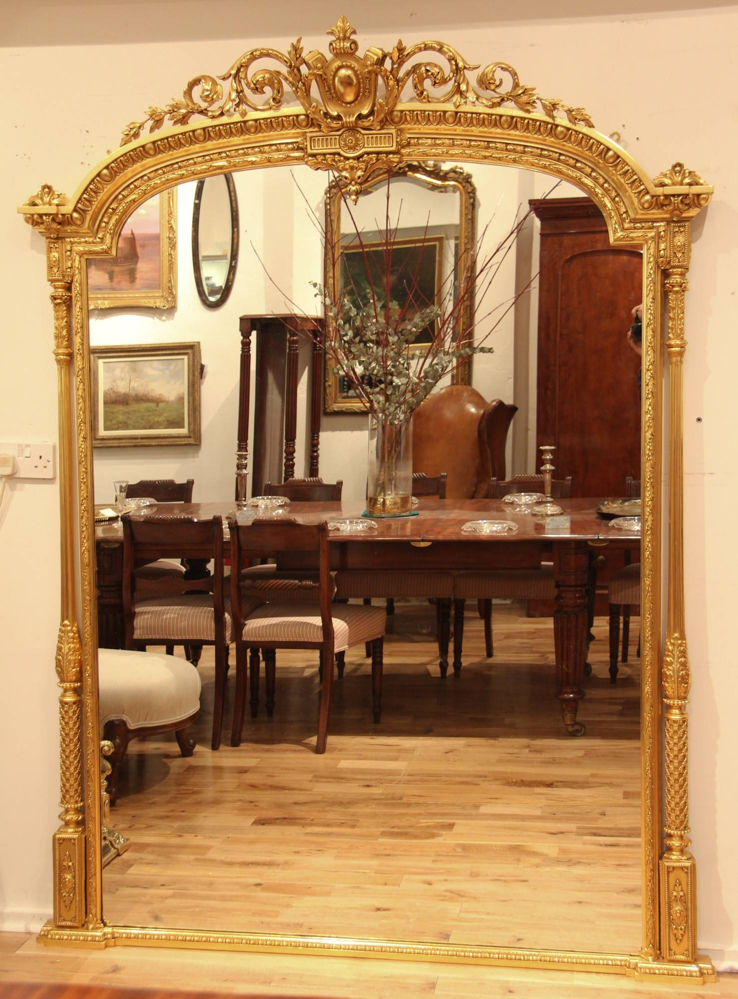 Large English Mid 19Th Century Adam Style Arch Top Overmantle for Large Overmantle Mirrors (Image 10 of 15)