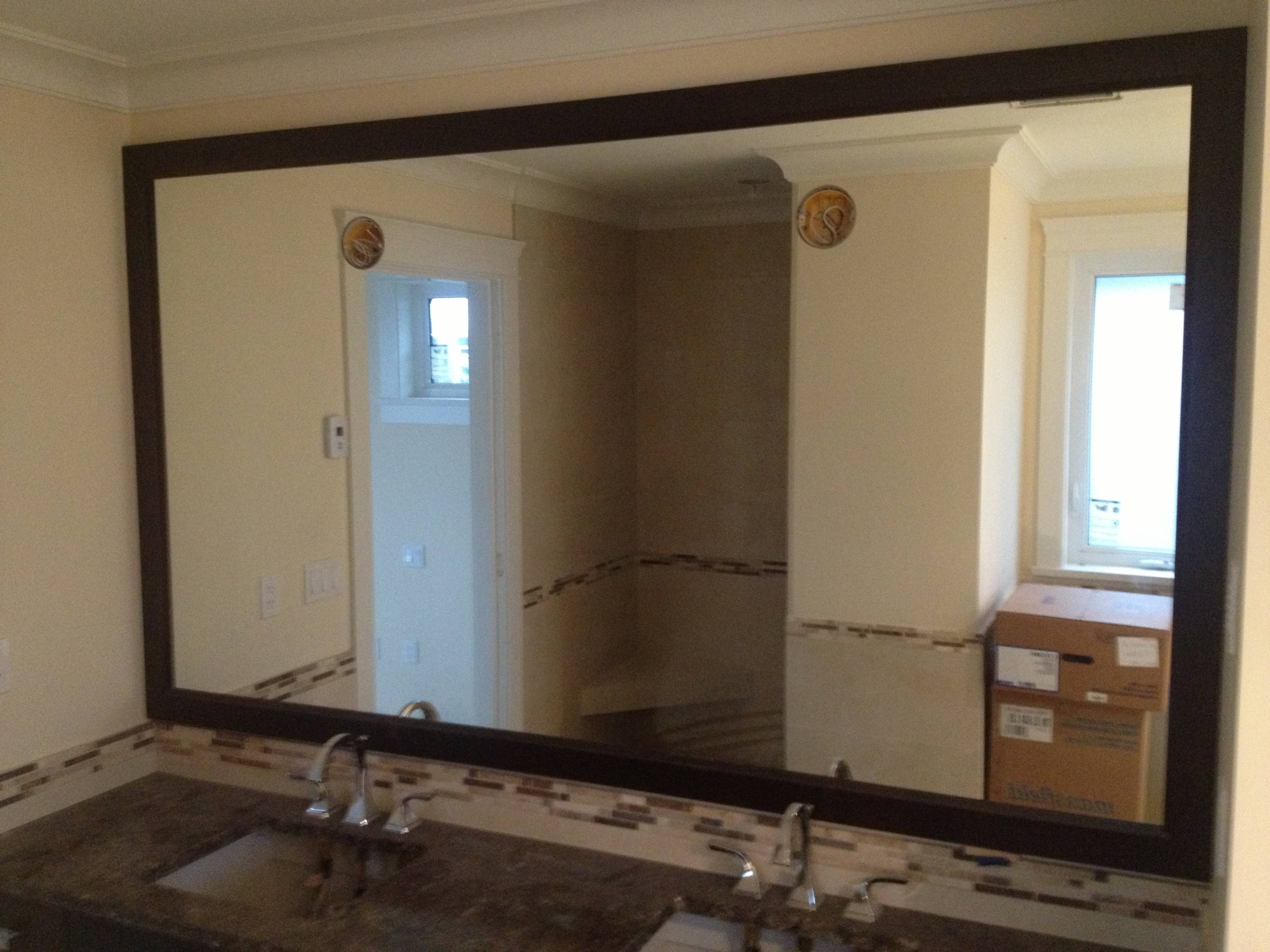 Large Framed Black Mirror For Bathroom And Subway Backsplash Tile within Large Brown Mirrors (Image 8 of 15)