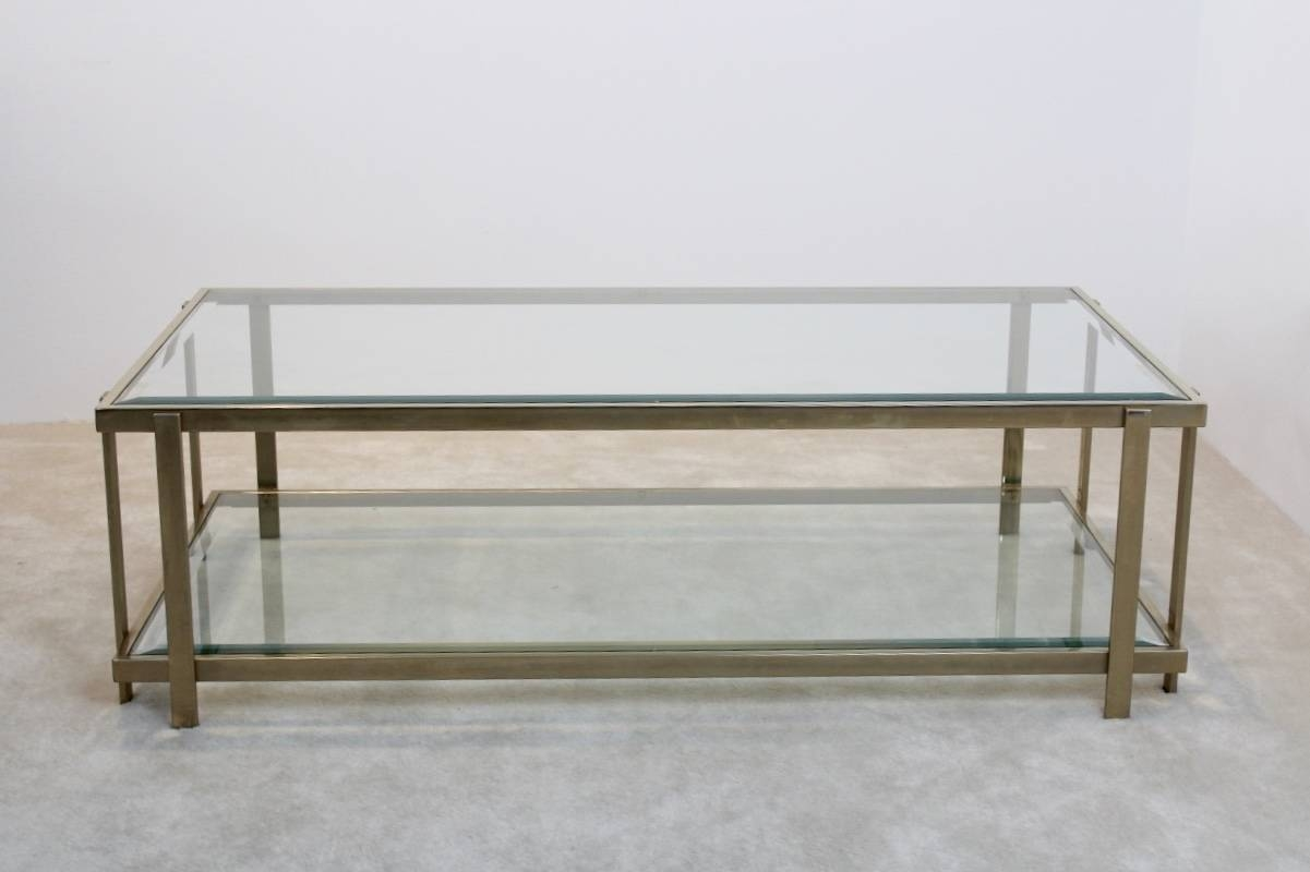 Large French Graphical Glass And Brass Coffee Table, 1970S For regarding Large Glass Coffee Tables (Image 10 of 15)
