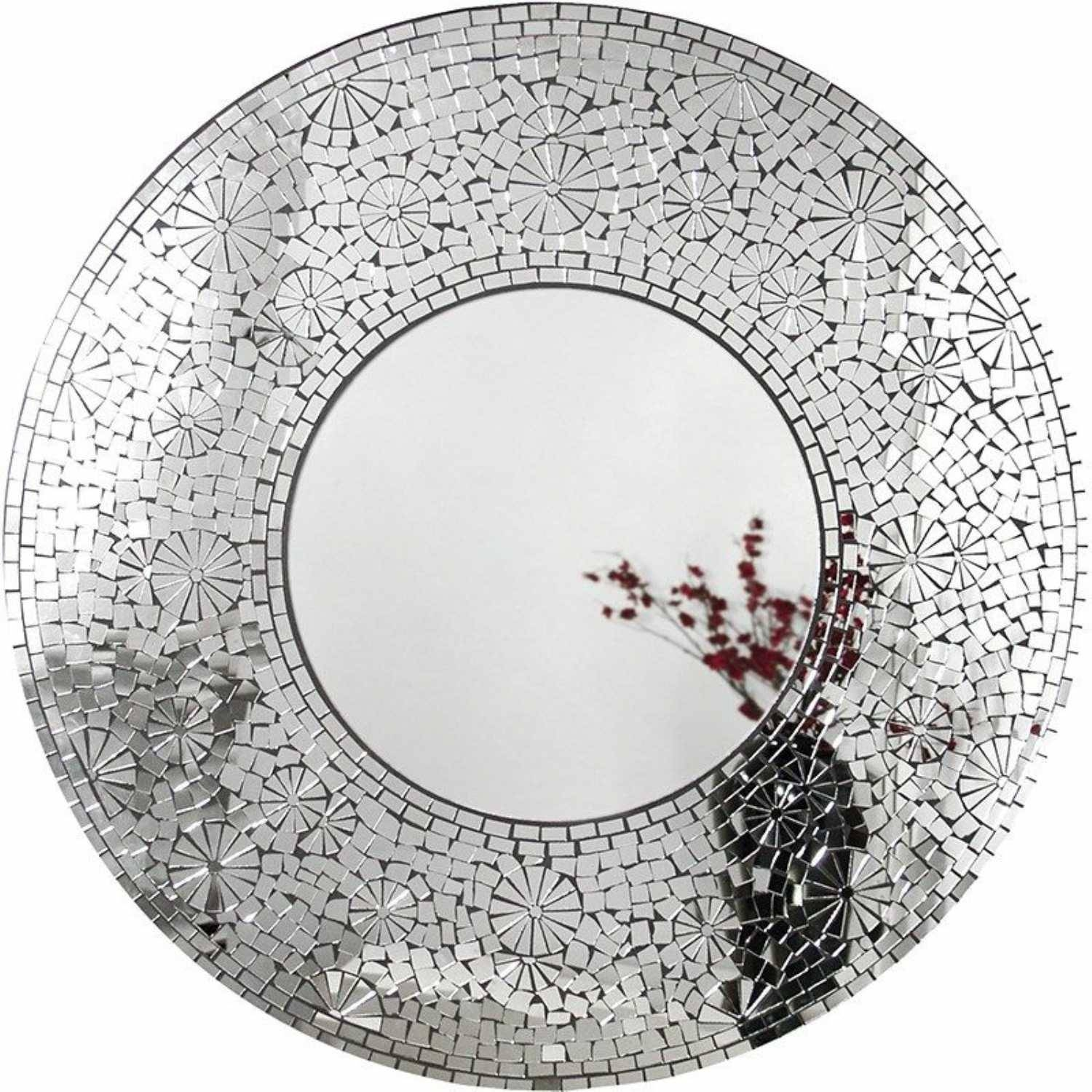 Large Funky Modern Mosaic Matahari Silver Round Wall Mirror within Large Round Silver Mirrors (Image 4 of 15)