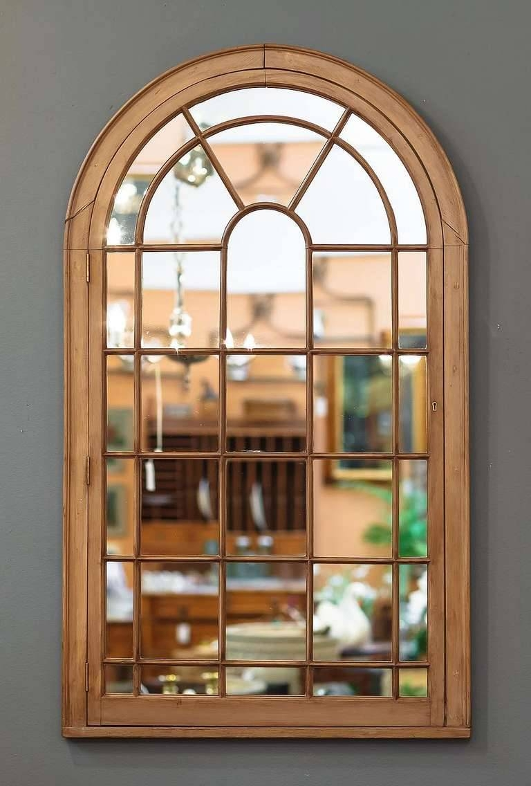 Large Georgian Arched Window Pane Mirrors (H 49 3/4 X W 28 1/2) At pertaining to Large Brown Mirrors (Image 9 of 15)