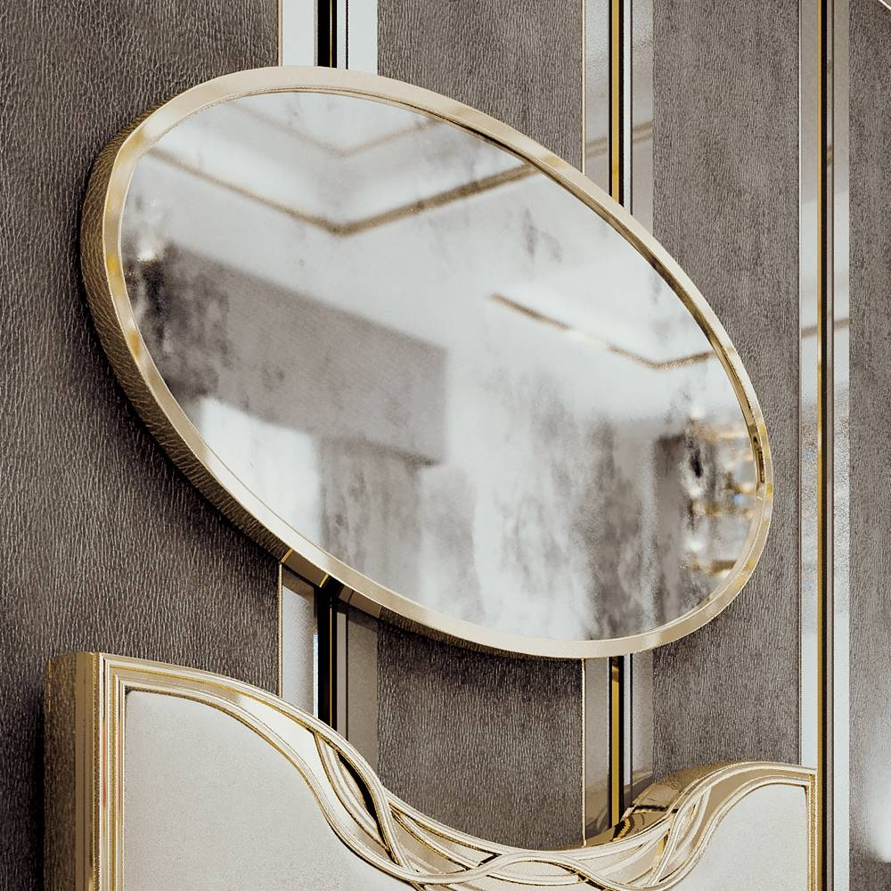 Large Gold Oval Art Deco Style Mirror | Juliettes Interiors regarding Art Deco Large Mirrors (Image 13 of 15)