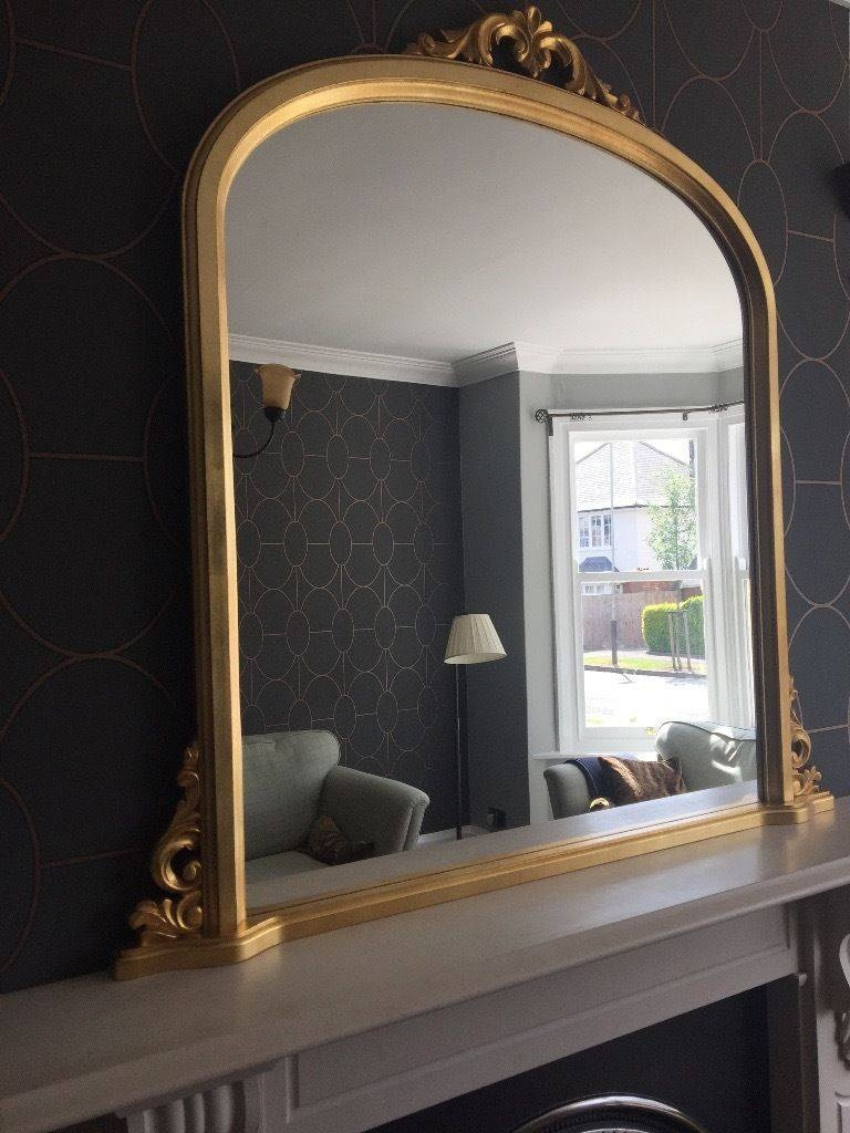 Large Gold Overmantle Mirror In A Period Style. Perfect Condition with regard to Over Mantle Mirrors (Image 12 of 15)