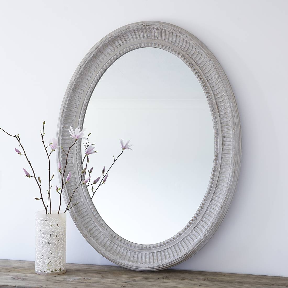 Large Grey Oval Wooden Wall Mirror – Primrose & Plum throughout Large Oval Wall Mirrors (Image 10 of 15)