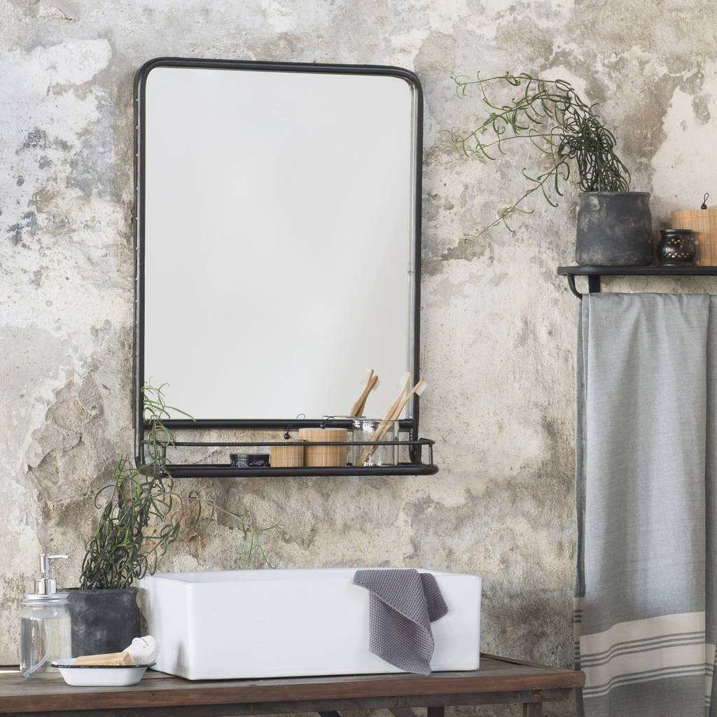 Large Industrial Mirror With Shelfthe Little House Shop pertaining to Large Black Mirrors (Image 13 of 15)