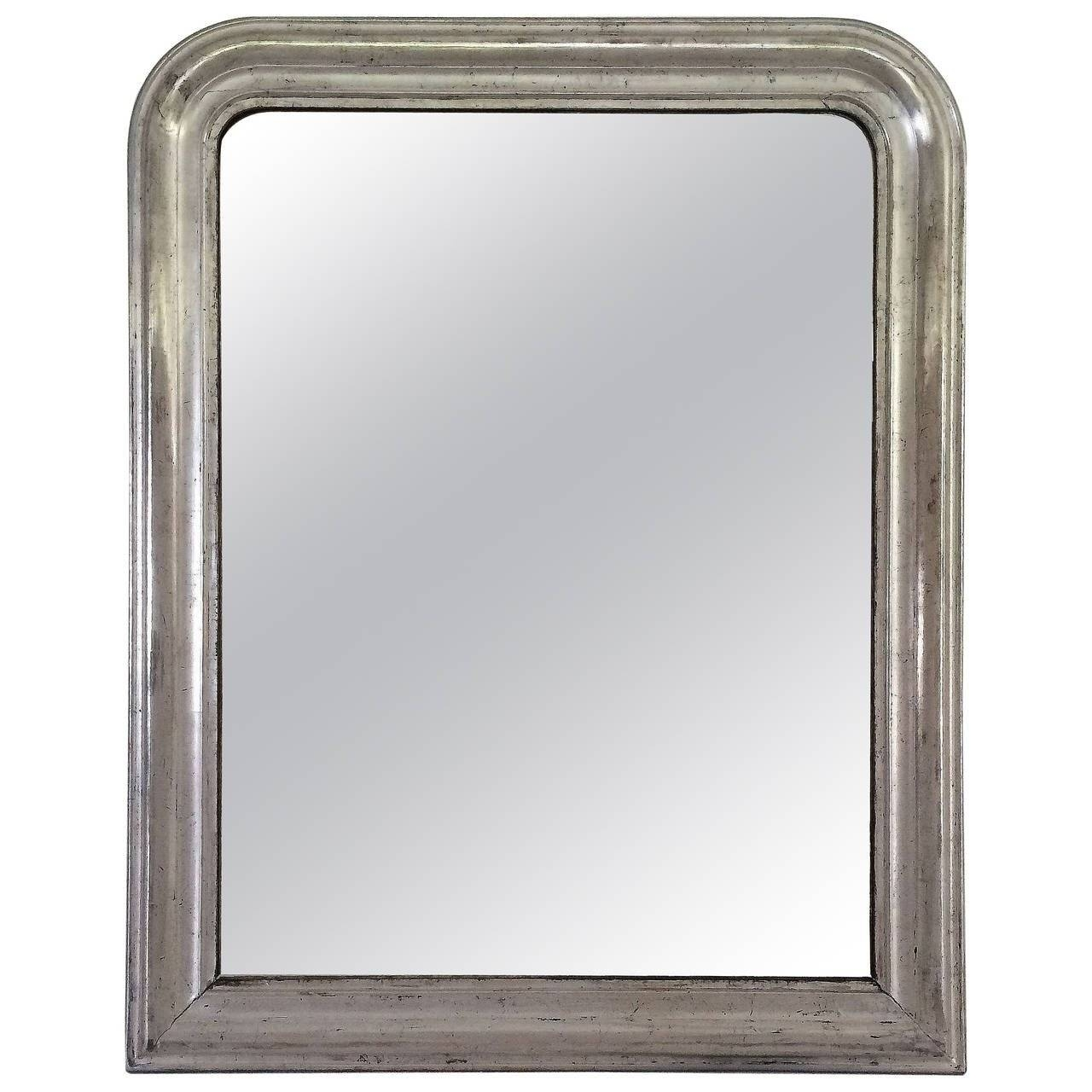 Large Louis Philippe Silver Gilt Mirror (H 44 X W 35) For Sale At in Large Silver Vintage Mirrors (Image 6 of 15)