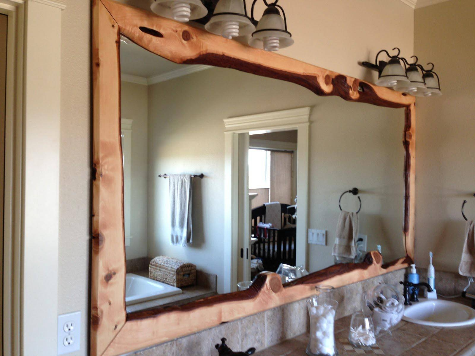 Large Mirror Handmade Oak Frame Traditional Rustic Wood Handmade within Rustic Oak Framed Mirrors (Image 10 of 15)