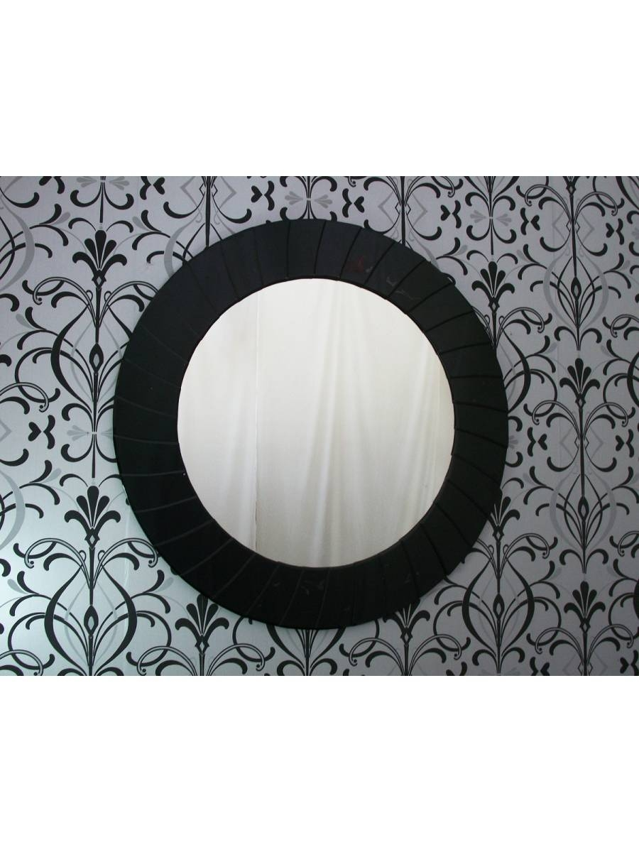 Large Modern Art Deco Contemporary Round Black Wall Mirror - within Round Art Deco Mirrors (Image 10 of 15)