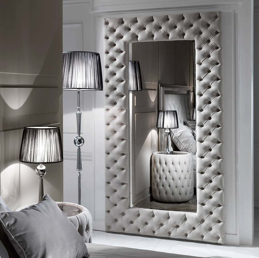 Large Modern Button Upholstered Nubuck Leather Wall Mirror for Large Modern Mirrors (Image 7 of 15)