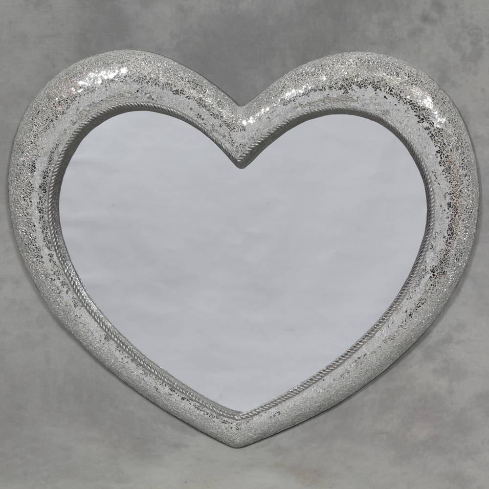 Large Mosaic Crackle Glass Heart Wall Mirror – Shabby Chic And In Large Mosaic Mirrors (View 6 of 15)