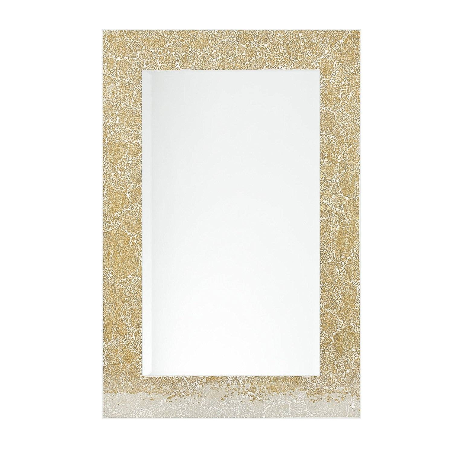 Large Mosaic Mirror In Gold 60Cm X 80Cm – Home Treats Uk With Large Mosaic Mirrors (View 7 of 15)