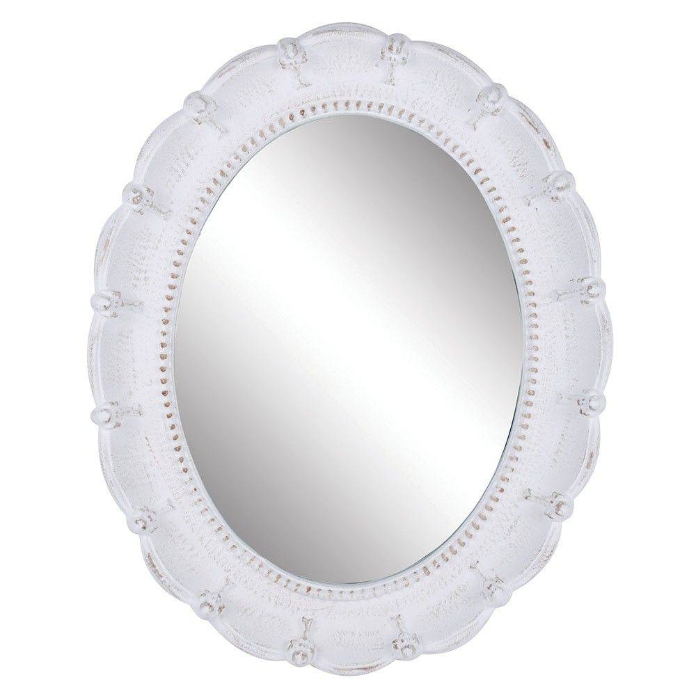 Large Oval Greta Mirror In Antique White | Precious Sparkle regarding Antique White Oval Mirrors (Image 10 of 15)