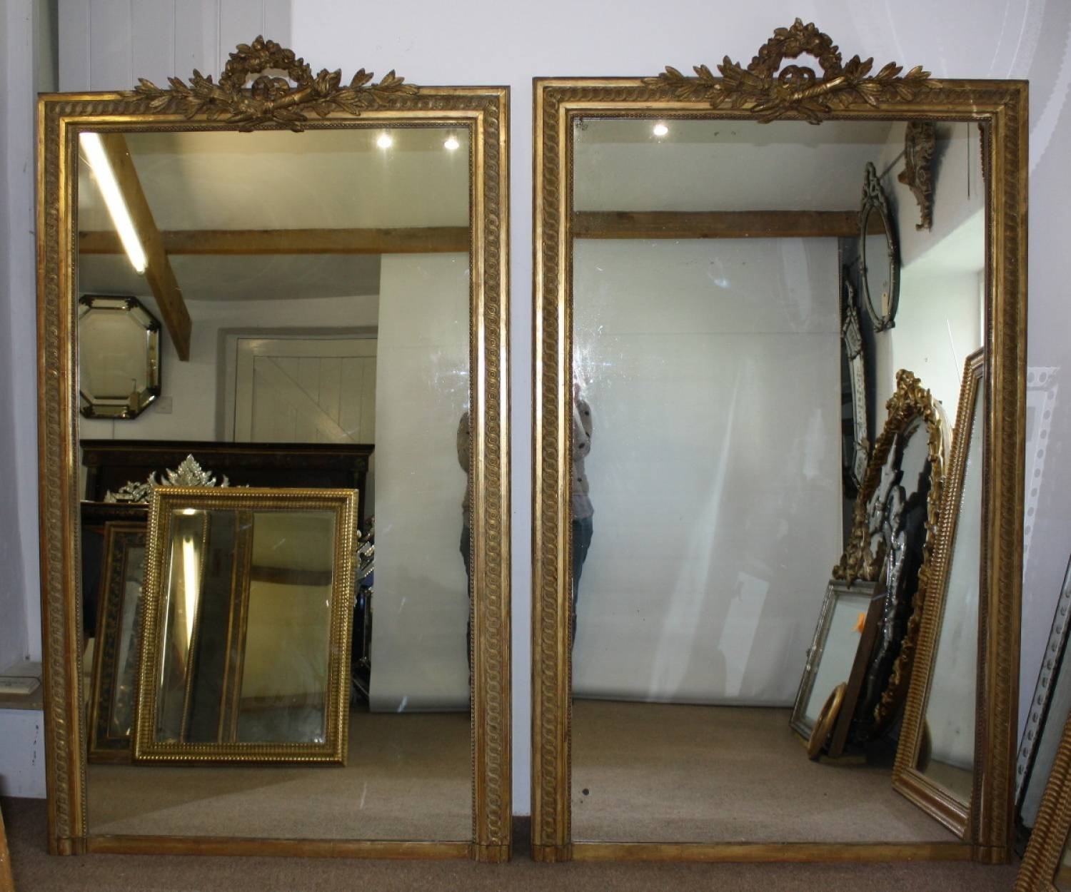 Large Pair Of Gilt Mirrors With Regard To Long Antique Mirrors (View 10 of 15)