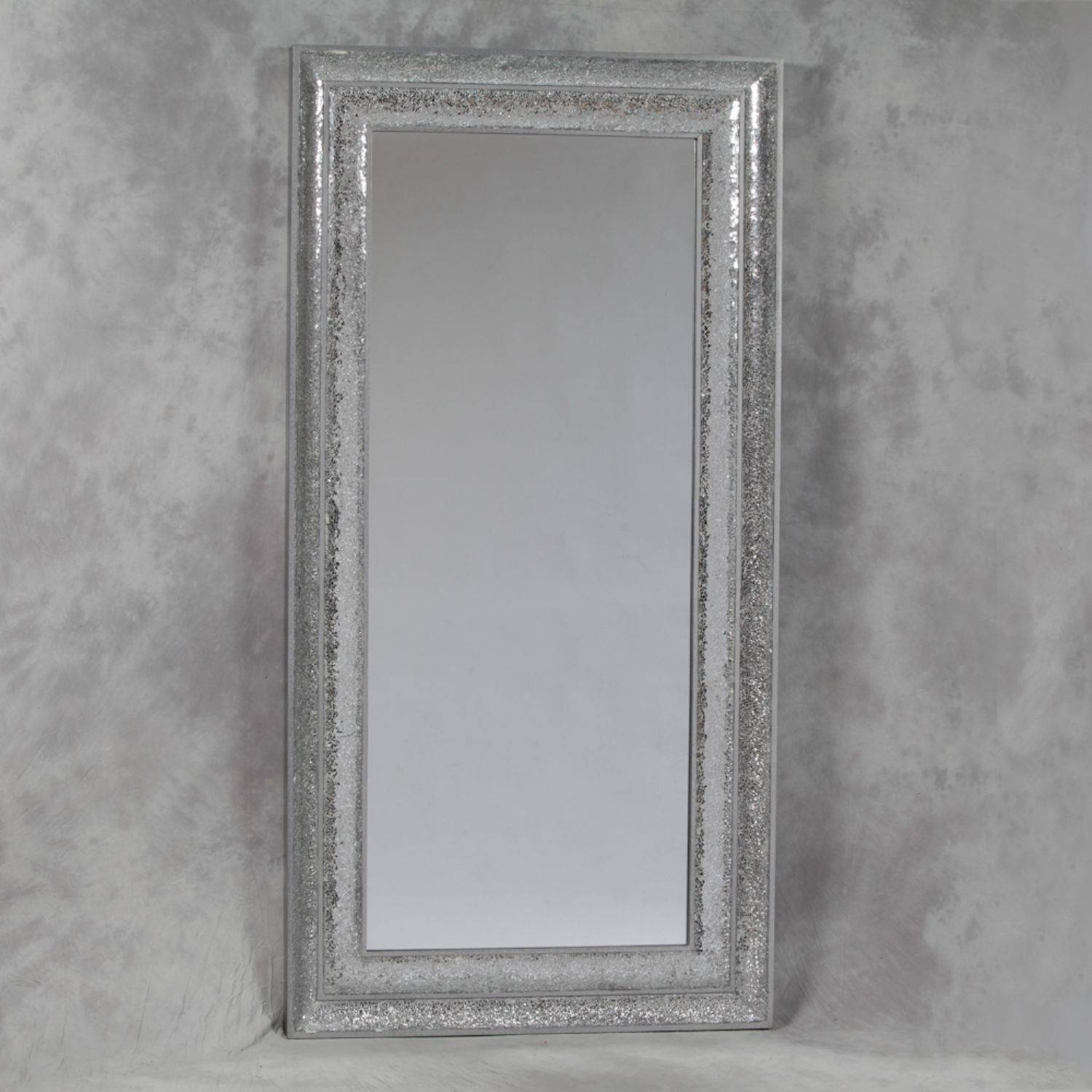 Large Rectangular Silver Crushed Glass Mosaic Mirror intended for Silver Long Mirrors (Image 12 of 15)