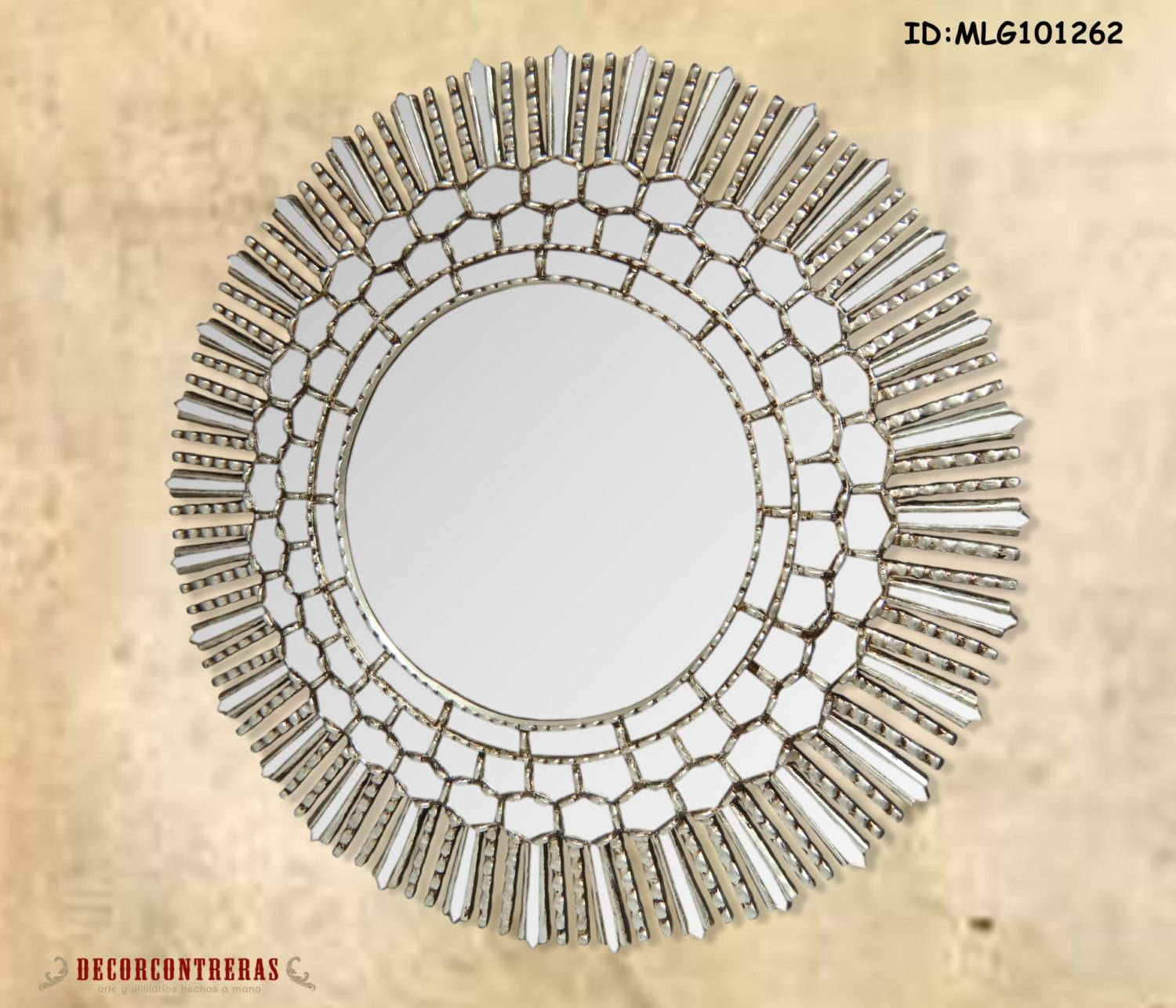 Large Round Decorative Wall Mirror Cuzco Style 31.5H with regard to Large Round Silver Mirrors (Image 5 of 15)