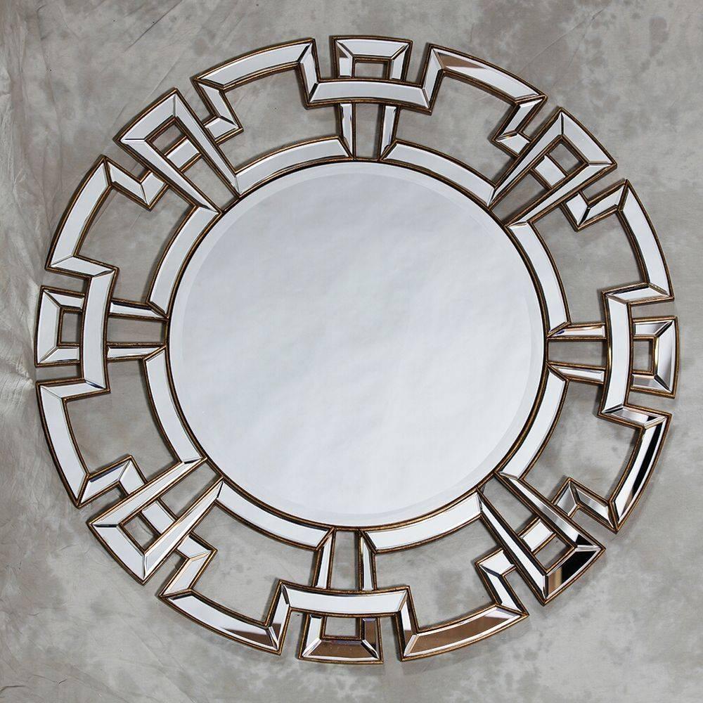 Large Round Silver Venetian Aztec Mirror inside Large Round Silver Mirrors (Image 9 of 15)