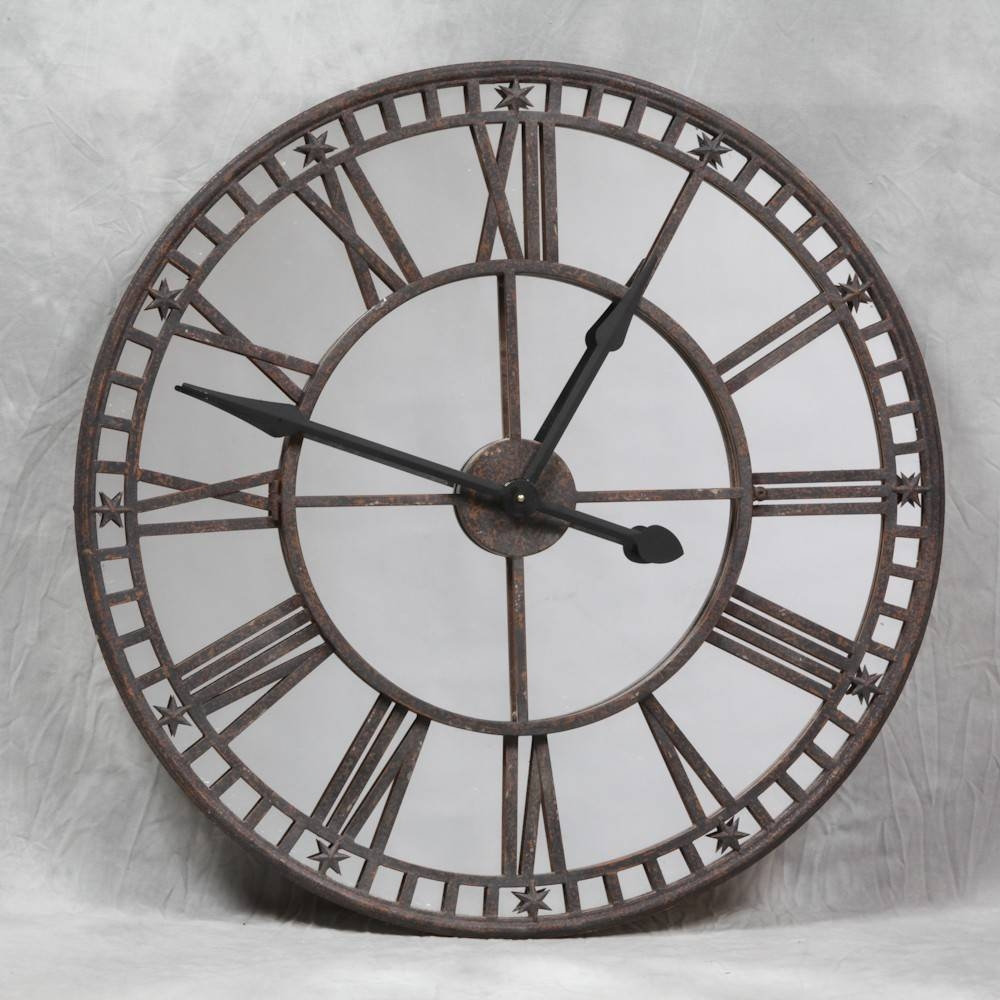 Large Shabby Chic Round Roman Numerals Wall Clock - Feature Wall Clock within Round Shabby Chic Mirrors (Image 9 of 15)