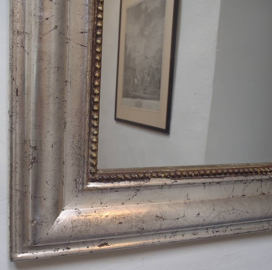 Large Silver Antique French Archtop Mirror In From On The Wall with Large Silver Vintage Mirrors (Image 7 of 15)