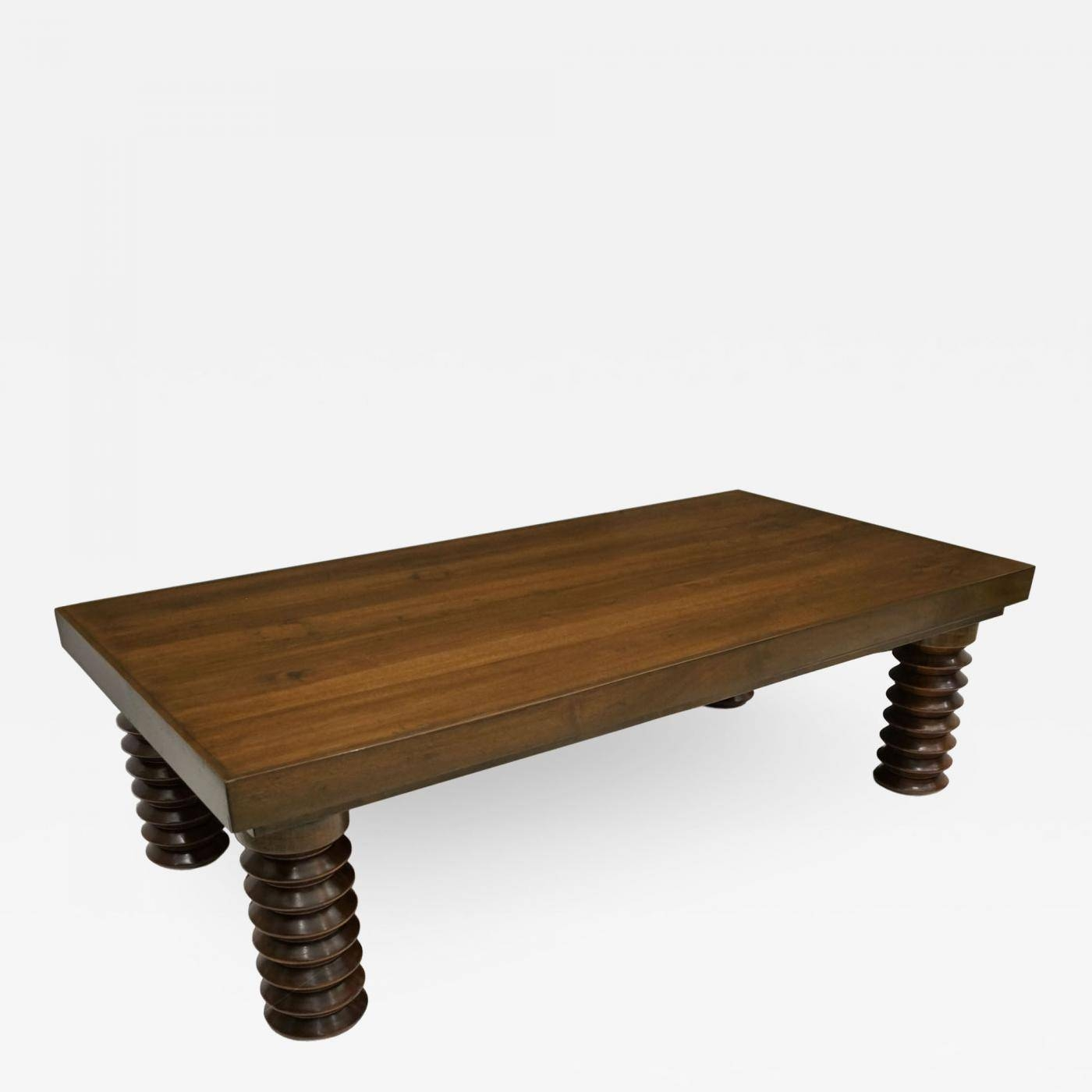 Large, Solid Wood Coffee Table On Turned Legs regarding Large Solid Wood Coffee Tables (Image 9 of 15)