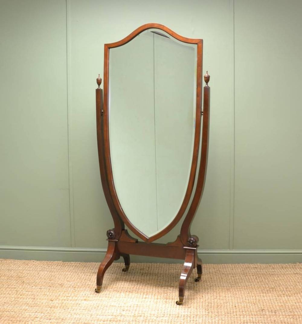 Large Victorian Inlaid Mahogany Full Length Antique Cheval Mirror in Full Length Antique Dressing Mirrors (Image 13 of 15)