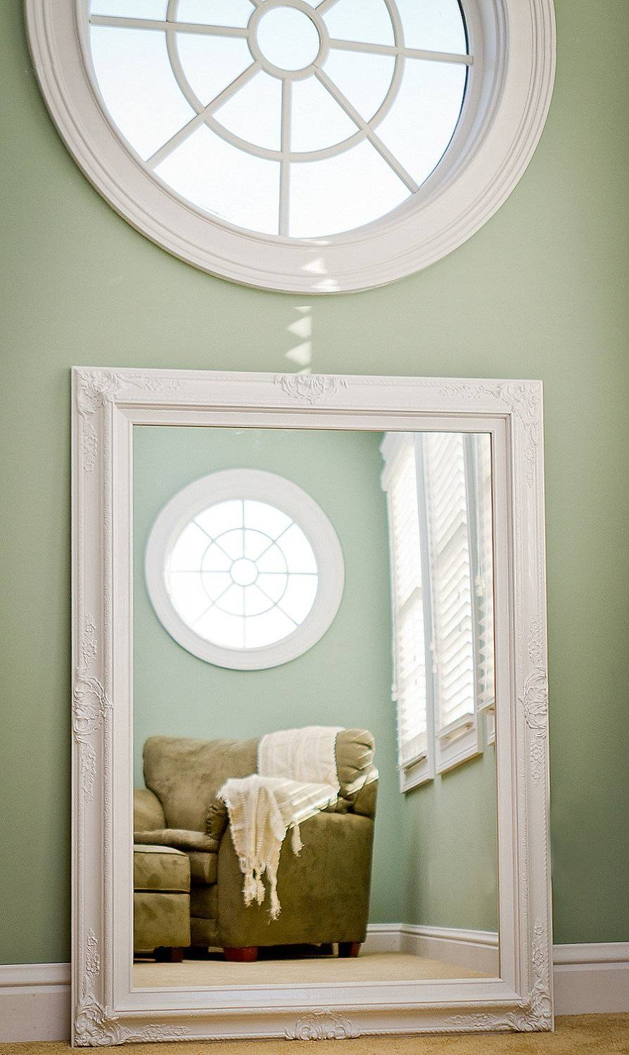 Large White Mirror For Sale 44X32 Vintage Inspired inside White Large Shabby Chic Mirrors (Image 5 of 15)