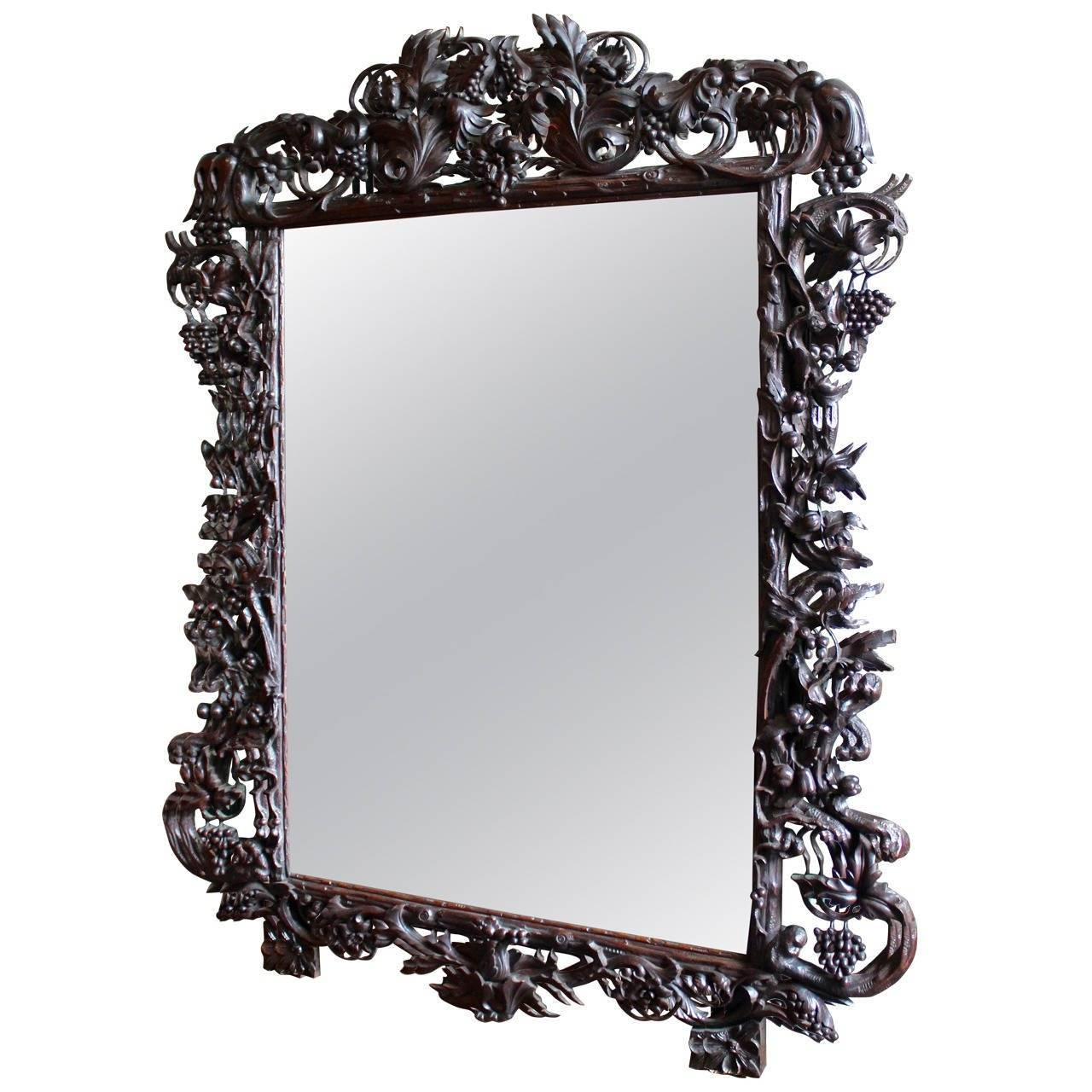 Late 19Th Century Ornate Large Black Forest French Mirror At 1Stdibs intended for Black Ornate Mirrors (Image 6 of 15)