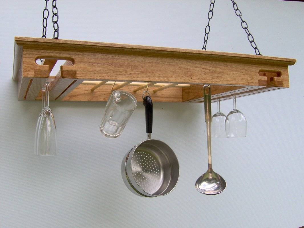 Laurel Highlands Woodshop Wine Glass Hanging Pot Rack & Reviews inside Pot Rack With Lights Fixtures (Image 8 of 15)