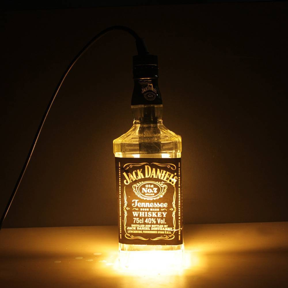 Led Pendant Lamp Transparent Jack Daniels Liquor Bottle Hanging within  Liquor Bottle Pendant Lights (Image