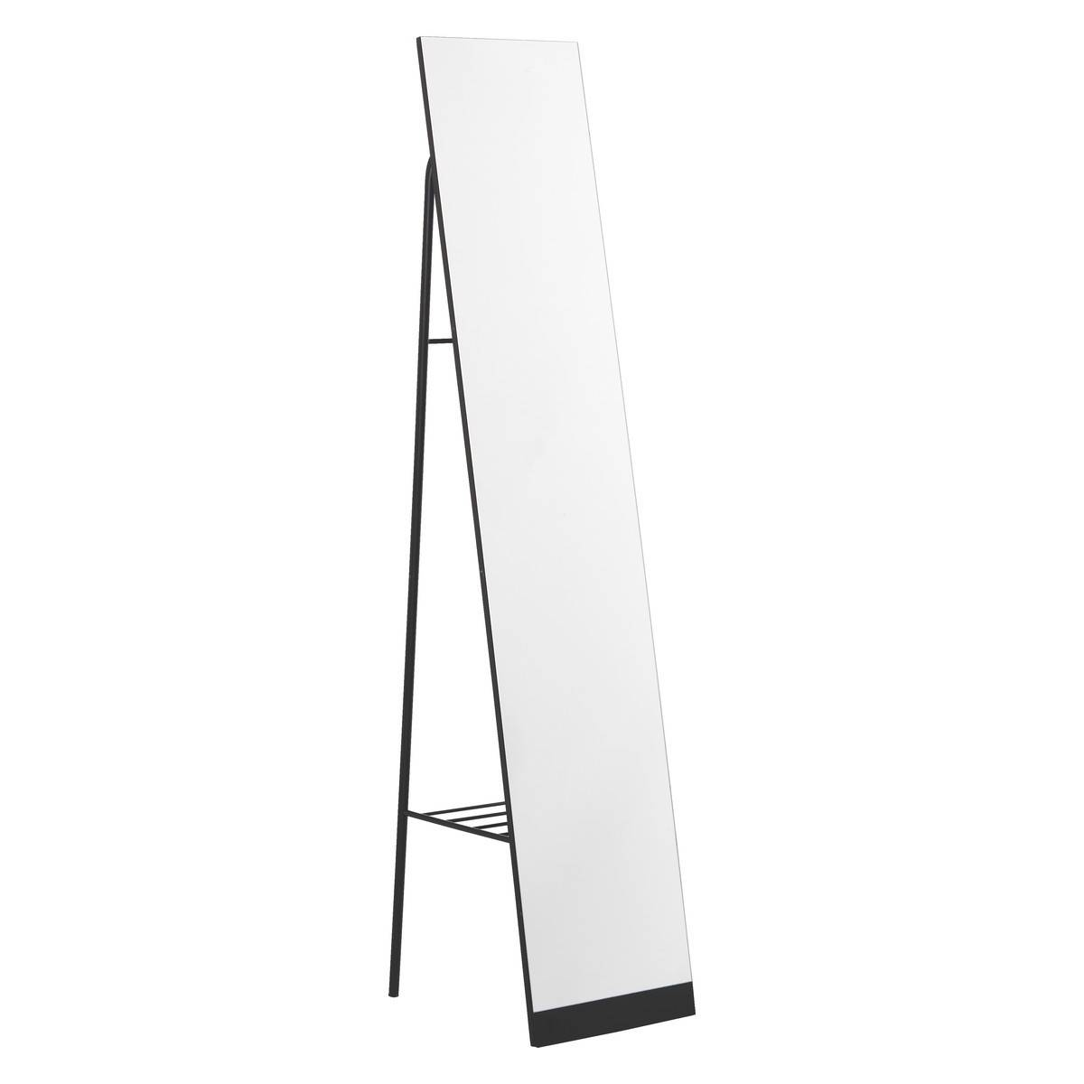 Leni Black Metal Free Standing Mirror With Storage | Buy Now At within Free Standing Black Mirrors (Image 13 of 15)