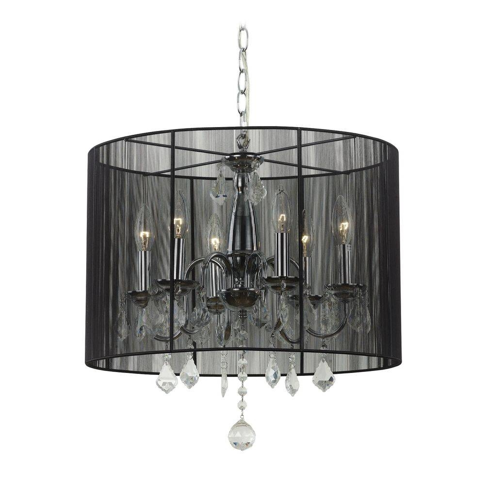 Lighting: Crystal Chandelier Pendant Light With Black Drum Shade in Black Drum Pendants (Image 12 of 15)