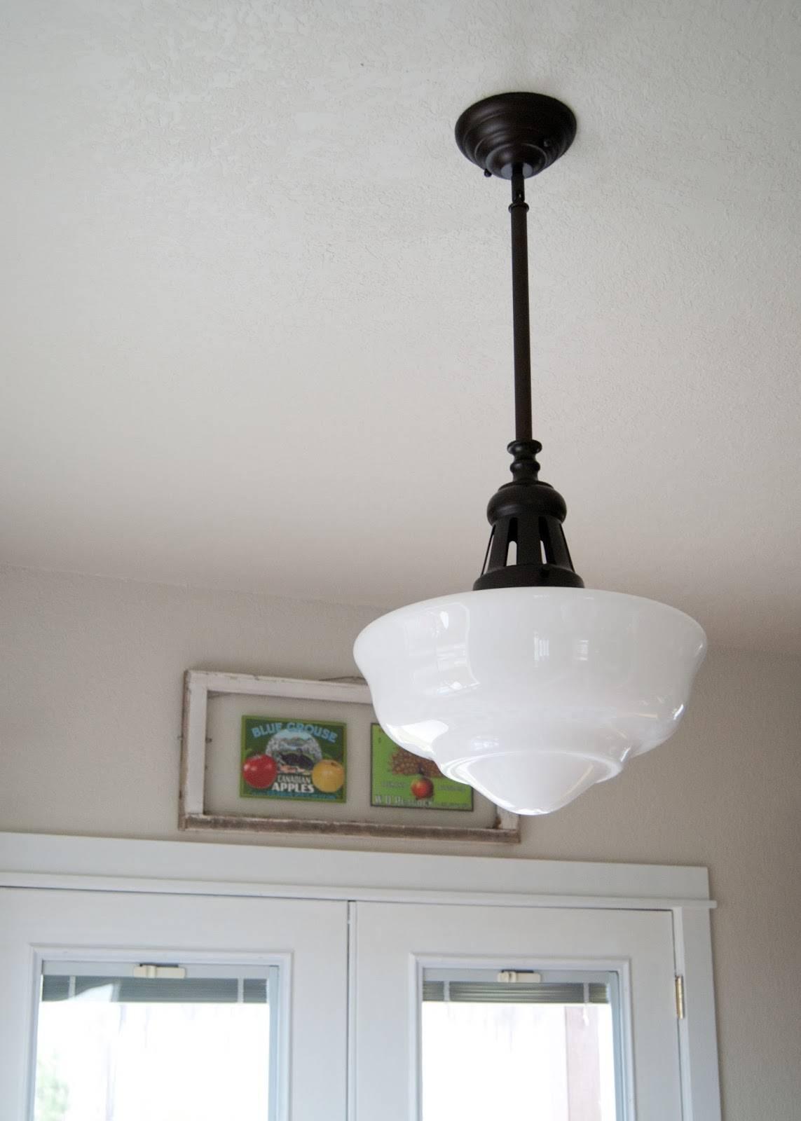 Lighting: Fascinating Schoolhouse Lighting For Modern Home in Milk Glass Pendant Lights Fixtures (Image 8 of 15)