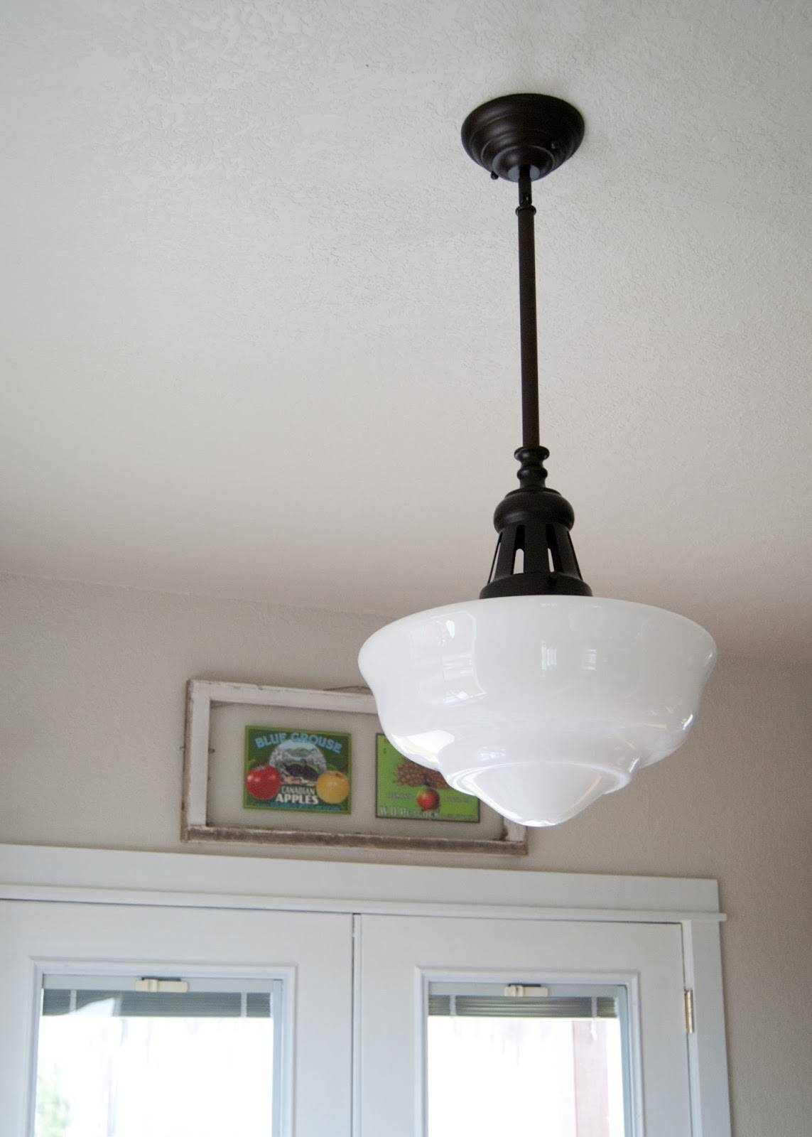 Lighting: Fascinating Schoolhouse Lighting For Modern Home with Milk Glass Pendants (Image 7 of 15)