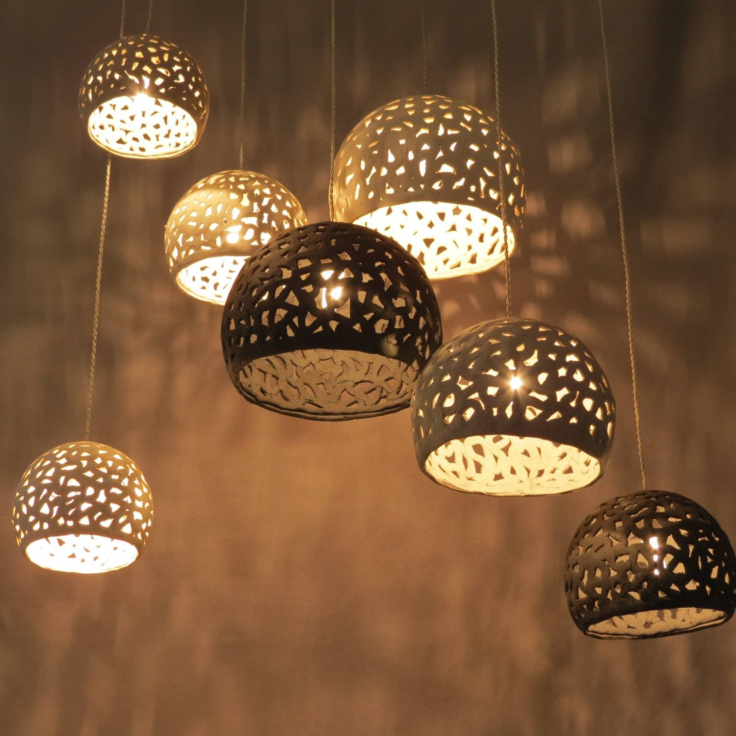 Lighting. Lighting Hanging Chandelier. 7 Ceiling Shades. pertaining to Shell Light Shades Pendants (Image 7 of 15)