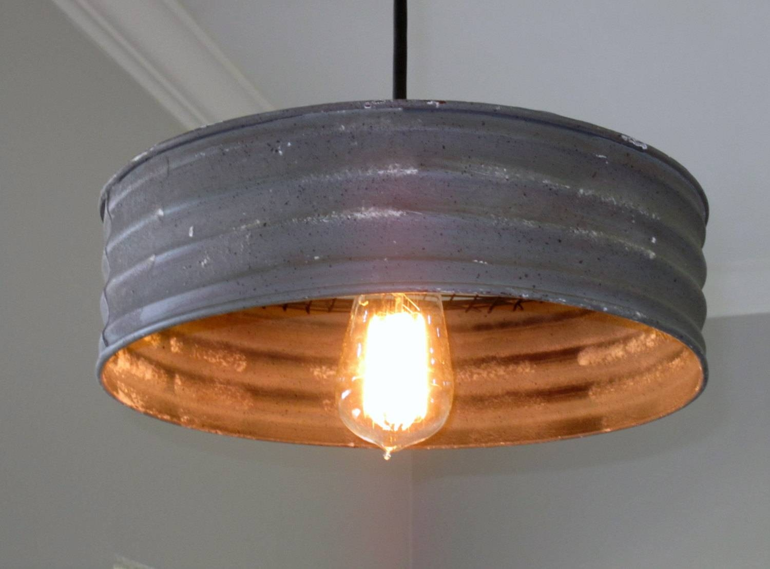 Lighting Metal Sifter Pendant Rustic Lighting Industrial pertaining to Etsy Pendant Lights (Image 6 of 15)