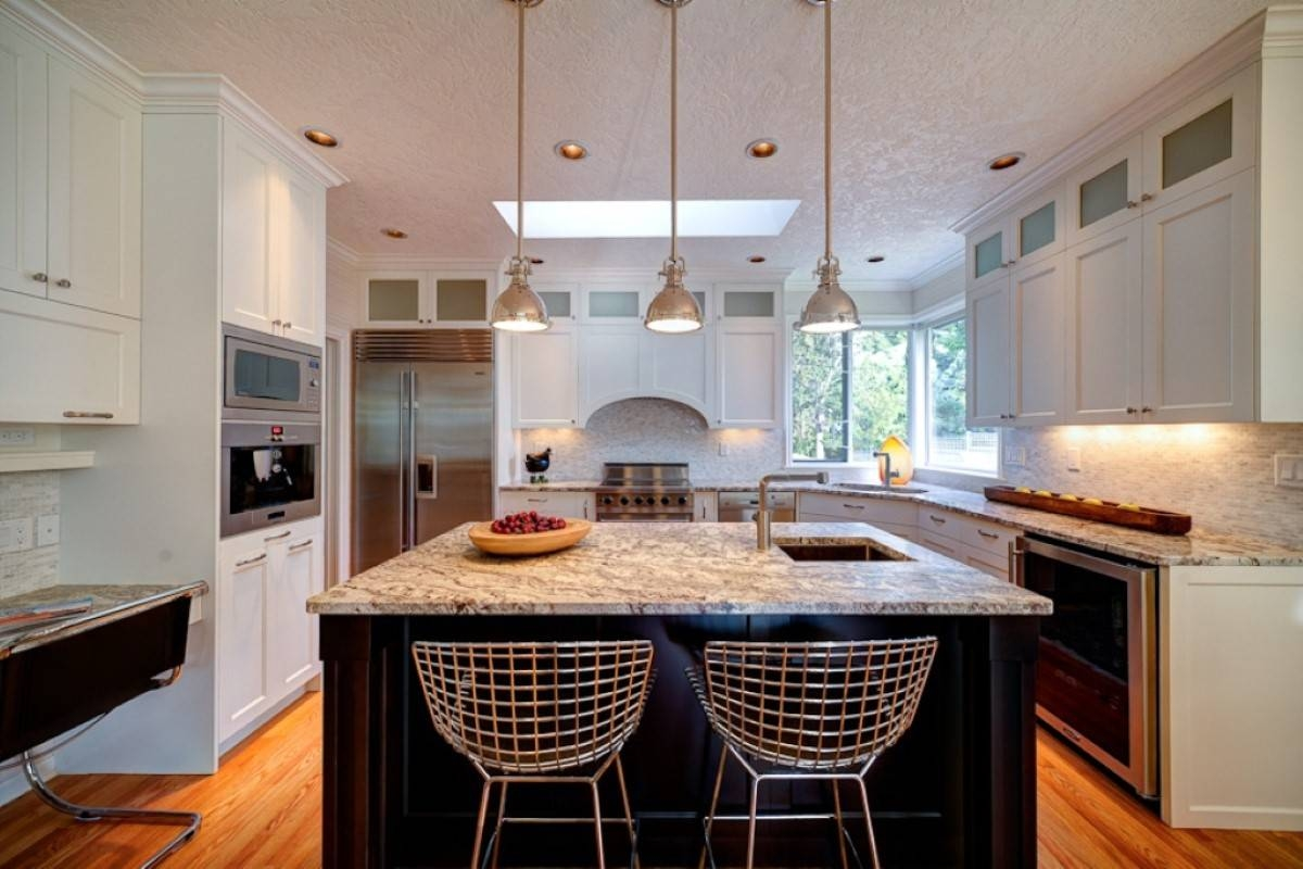 Lighting: Pendant Lighting For Kitchen With Recessed Lighting Also intended for Stainless Steel Kitchen Lights (Image 10 of 15)